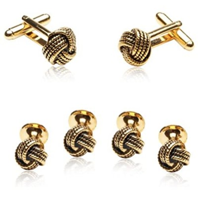 Cuff-Daddy Classic Woven Gold-Tone Knot Cufflinks and Stud Set with Presentation Box