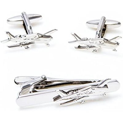 MRCUFF Airplane Cessna Plane Pilot Pair of Cufflinks and Tie Bar Clip with a Presentation Gift Box