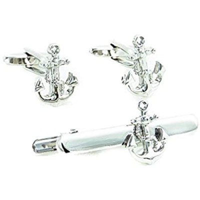 MRCUFF Anchor w/Chain Pair of Cufflinks & Tie Bar Clip in Presentation Gift Box and Polishing Cloth