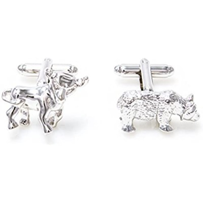 MRCUFF Bull and Bear Wall Street Pair Cufflinks in a Presentation Gift Box & Polishing Cloth
