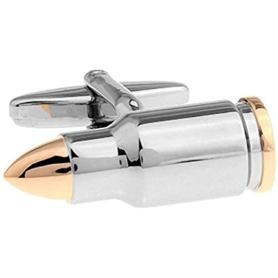 MRCUFF Bullet 2 Two Tone Shell Casing Army Police Pair Cufflinks in a Presentation Gift Box & Polishing Cloth