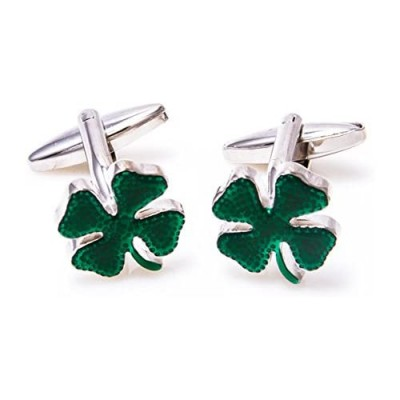 MRCUFF Clover Green Irish Ireland Shamrock 4 Leaf Pair Cufflinks in a Presentation Gift Box & Polishing Cloth