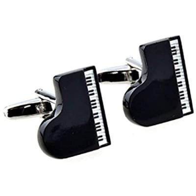MRCUFF Grand Piano Black Pair Cufflinks in a Presentation Gift Box & Polishing Cloth