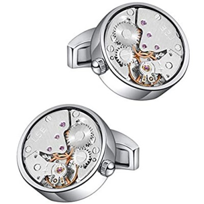 Mr.Van Watch Movement Cufflinks Silver Vintage Steampunk for Men's Father's Day Deluxe Gift