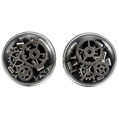 THREE KEYS JEWELRY Steampunk Cufflinks Carbon Fiber Gear Inlay Watch Movement Cufflinks Rose Gold Black Cufflinks for Men Women Boys Business Shirt Groom Father Wedding Mens Cufflinks Gift Set Unique
