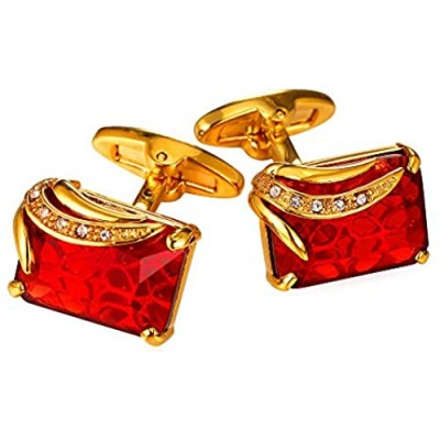 U7 Men Cufflinks for Wedding Christmas Business Platinum or 18K Gold Plated Crystal Fancy Stone Cuff Links Custom Photo Cufflinks Gift Packed