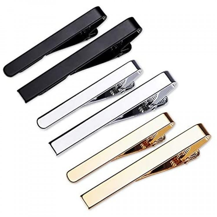 Classic Style Men's Tie Clips Viaky Neck Ties Necktie Bar Pinch Clip with Gold Silver Black 3 Tone Best Gifts for Your Father Lover and Friends in Xmas Anniversary Wedding Party Meeting