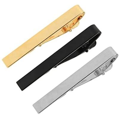 Hugesavings 3 Pcs Set Tie Clips Silver Golden Black Classic Tie Bar Clip Necktie Tie Pins