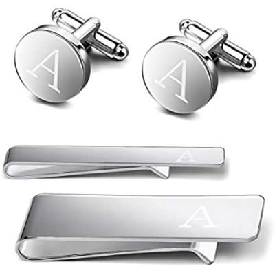 Kaidvll 4 PCS Tie Clips Cuff Links Tie Bar Money Clip Button Shirt Engraved Initials Copper Alloy Alphabet A-Z Gift Set with Box
