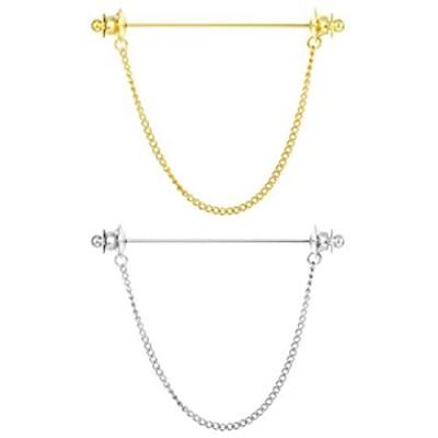 YADOCA Men Silver Gold Tone Necktie Tie Cravat Pin Clip Business Shirt Collar Bar Clips with Chain