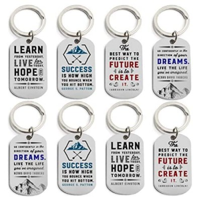 (12-Pack) Motivational Keychains with Inspirational Quotes - Wholesale Bulk Keychains for Corporate Office Gifts Thank You Appreciation Gifts for Staff Small Bulk Gifts for Coworkers and Employees