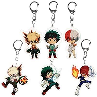 Acrylic Keychain for My Hero Academia - Anime Midoriya Izuku Bakugou Todoroki Keychain Set Animation Key Rings Gifts for Boy
