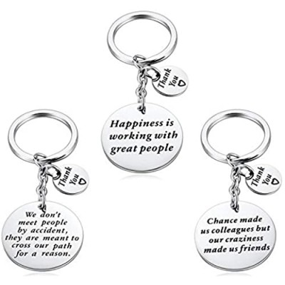 Coworker Leaving Gift for Friends Boss - 3PCS Colleague Going Away Keychain Retirement Jewelry Co Worker Office Goodbye Farewell Key Chain