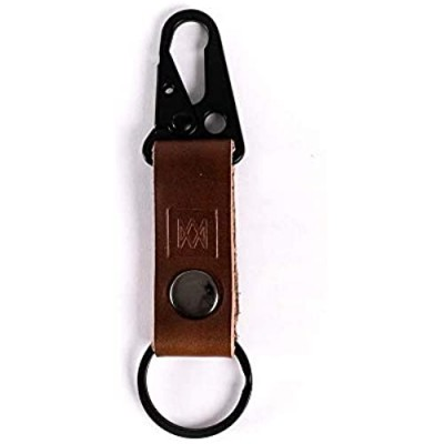 Mission Leather Co. | Full Grain Leather Tactical Keychain Ring with Clasp and Button Hardware