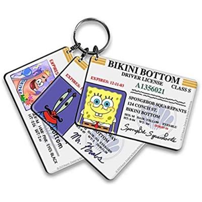 SpongeBob Bikini Bottom Drivers License Keychain Bundle - 3 Pack - SpongeBob Patrick Mr. Krabs Keychains