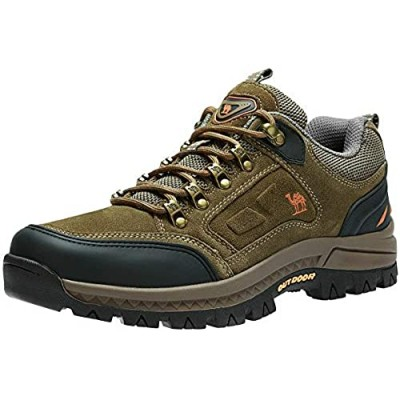 CAMEL CROWN Mens Hiking Shoes Breathable Non-Slip Sneakers Leather Low Cut Boots for Outdoor Trailing Trekking Walking