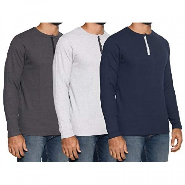 3 Pack: Men's Henley Long Sleeve Fashion Casual Fit T-Shirts Cotton Heavyweight Outerwear