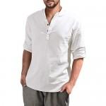 Aimeilgot Mens Long Sleeve Henley Shirt Cotton Linen Beach Loose Fit Henleys Tops