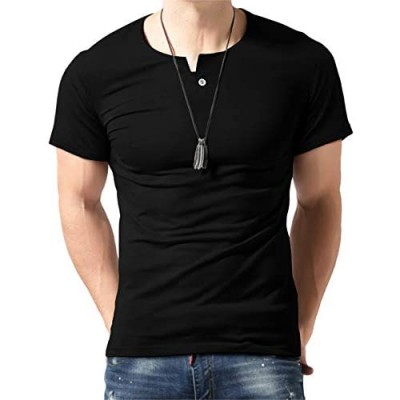 Aiyino Men's Casual Slim Fit Single Button Long Sleeve Placket Plain Henley Top T Shirts
