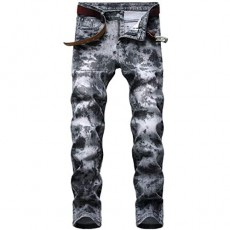 Aiyino Men's Ripped Slim Straight Fit Biker Jeans with Zipper