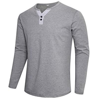 APTRO Fashion Contrast Cotton Lightweight Short/Long Sleeve Shirts Henley Regular Fit Casual T-Shirts