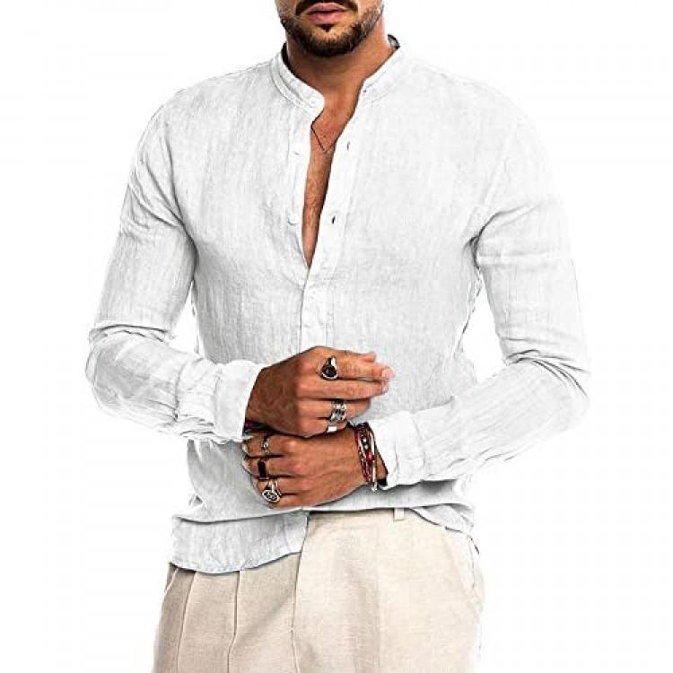 AUDATE Men's Cotton Shirt Long Sleeve Button Down Shirts Casual Banded Collar Henley Shirt