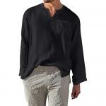 AUDATE Mens Shirts Casual Cotton Linen Shirt Long Sleeve Henley Shirt Summer Beach Shirt