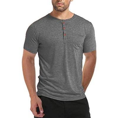 BABEIYXM Men's Shirt Button Short/Long Sleeve Casual Top with Pockets Slim T-Shirt Upgraded Models