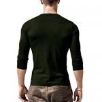Babioboa Men's Casual Henley Shirt Long Sleeve Regular Fit T-Shirt Beach Yoga Top Deep Green