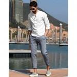 Babioboa Mens Henley Shirt Cotton Linen T-Shirt Casual Long Sleeve Henley Top with 5 Button