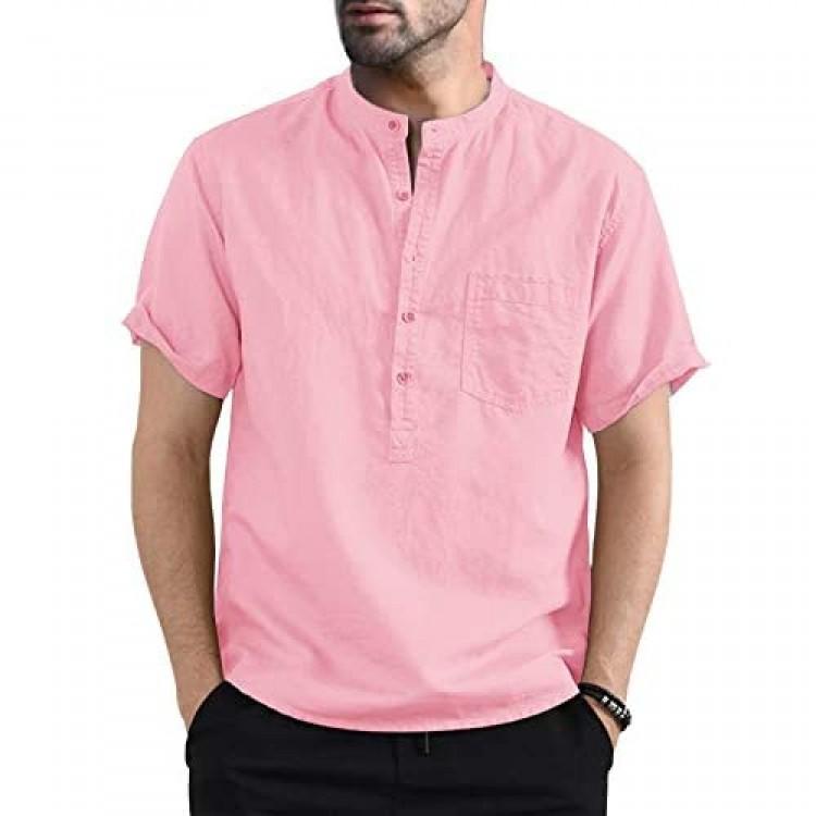 Bbalizko Mens Linen Cotton Henley Shirt Casual V Neck Short Sleeve Beach Hippie Yoga Tees Plain Summer Tops