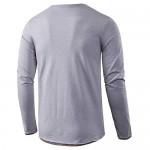 BEILU Men's Fashion Casual Long Sleeve Henley T-Shirts Slim Fit Basic Shirts