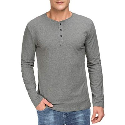 Boisouey Men's Casual Slim Fit Long Sleeve Henley T-Shirts Cotton Shirts