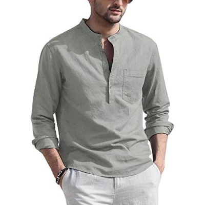 COOFANDY Mens Cotton Linen Henley Shirt Casual Beach Lightweight Solid Top Shirt