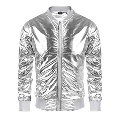 COOFANDY Men's Metallic 70s Disco Party Varsity Jacket Button Zip-up Baseball Bomber