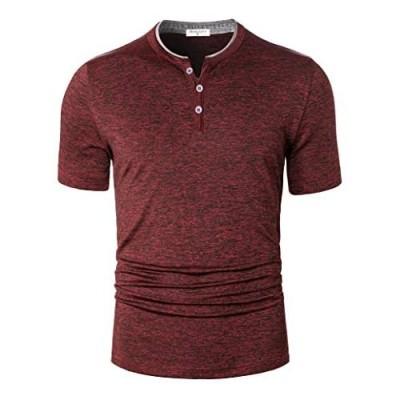 Derminpro Men's Quick Dry Casual Henley Collarless Golf Shirts Buttons Short Sleeve Sport T Shirt