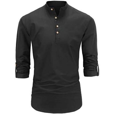 Dioufond Mens Henley Shirts Long Sleeve Mandarin Collar Popover Shirts