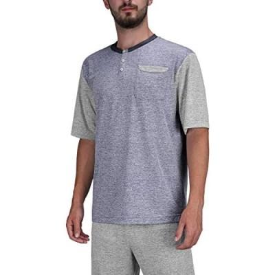 DISHANG Men's Short Sleeve 3 Button Henley T-Shirts Fashion Casual Front Placket Basic Tees with Pocket Top Pajamas Shirts