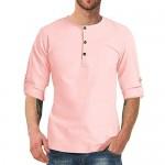 Ebifin Mens Shirts Long Sleeve Henley Tops Cotton Button Down Blouse