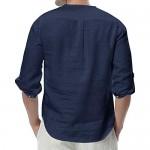 Enjoybuy Mens 3/4 Sleeve Henley Shirt Casual Linen Cotton Summer Loose Fit Beach Shirts