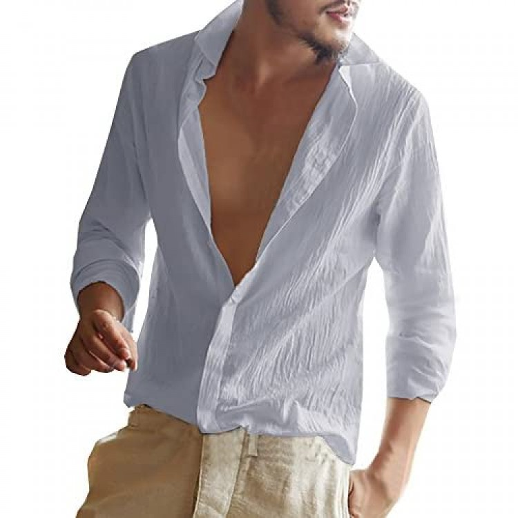 Enjoybuy Mens Linen Cotton Shirt Banded Collar Casual Long Sleeve Loose Fit Summer Beach T Shirts