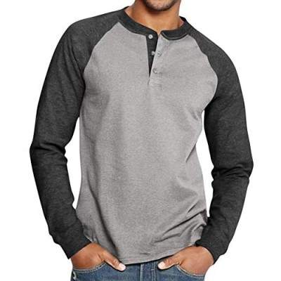 Esobo Men's Casual Beefy Slim Fit T-Shirts Henley Long Sleeve Spring Summer Clothes