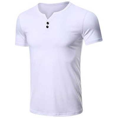 Esobo Men's Casual Slim Fit Basic Henley Short Sleeve Fashion Cotton T-Shirt