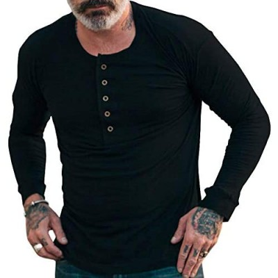 Esobo Mens Henley Shirts Long Sleeve Gym Workout Cotton Crew Neck Button Tops