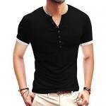 Esobo Mens Henley Shirts Short Sleeve Cotton Round Neck Waffle Henley Tee