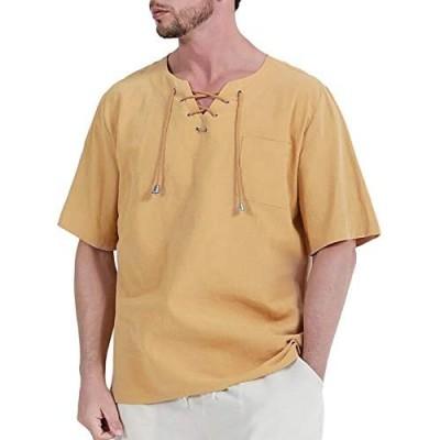 Fashonal Men's Cotton Linen Shirts Hippie Casual Lace Up Tunic Short Sleeves Yoga Beach Top