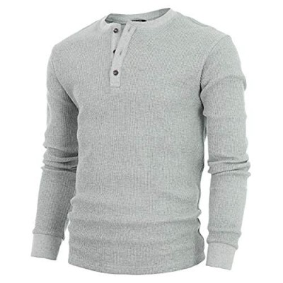 GIVON Mens Slim Fit Casual Lightweight Waffle Henley Shirt