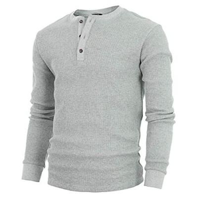 GIVON Mens Slim Fit Casual Lightweight Waffle Henley Shirt