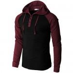 H2H Mens Casual Pullover Hoodie Henley Lightweight Sweatshirts of Various Styles