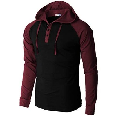 H2H Mens Casual Pullover Hoodie Henley Lightweight Sweatshirts of Various Styles